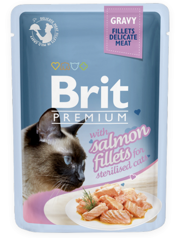 Brit Premium Cat Adult Sterilised Salmon Fillets w sosie 85g