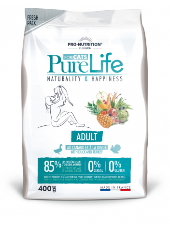 Pure Life for cat adult with duck and turkey 400g