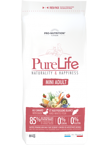 Pure Life Mini Adult with duck and white fish 8kg