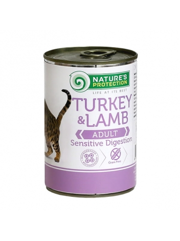 Nature's Protection Adult Cat Sensitive Digestion Turkey & Lamb 400g