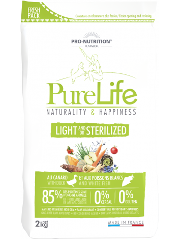 Pure Life light and/or sterilized with duck and white fish 2kg