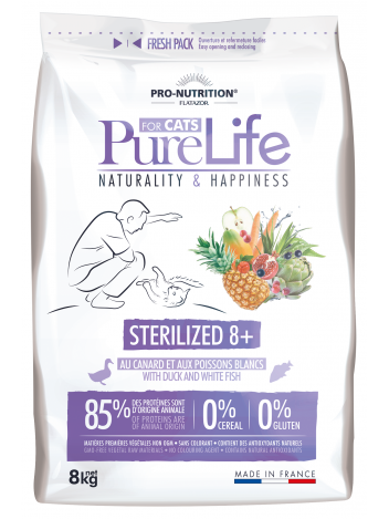 Pure Life for cat sterilized 8+ with duck and white fish 8kg