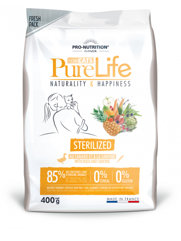 Pure Life for cat sterilized with duck and sardine 400g