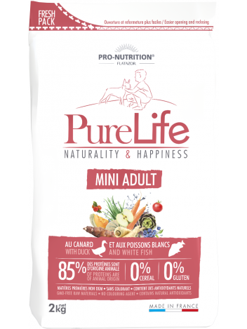 Pure Life Mini Adult with duck and white fish 2kg