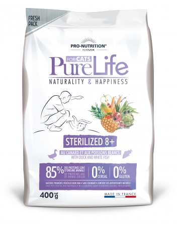 Pure Life for cat sterilized 8+ with duck and white fish 400g