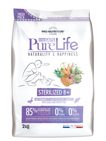 Pure Life for cat sterilized 8+ with duck and white fish 2kg