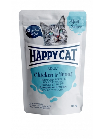 Happy Cat Meat in Sauce Adult Chicken & Trout 85g