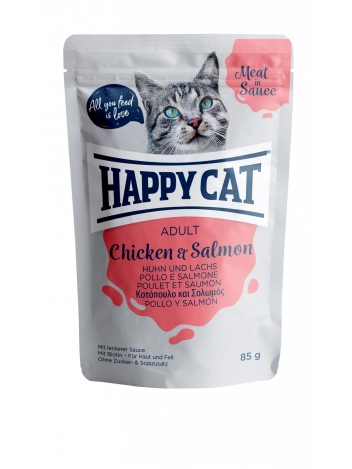 Happy Cat Meat in Sauce Adult Chicken & Salmon 85g