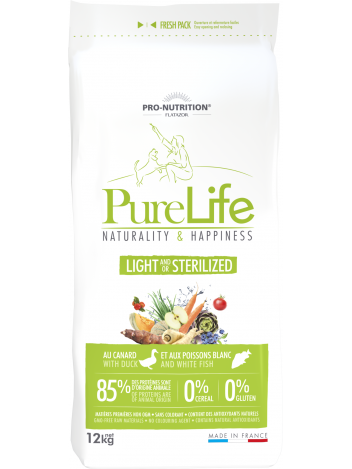 Pure Life light and/or sterilized with duck and white fish 12kg