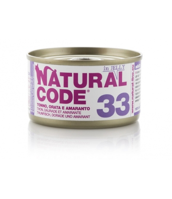 Natural Code Cat 33 Tuna, seabream and amaranth in jelly 85g